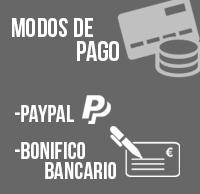 Modos de pago: Paypal, bonifico bancario