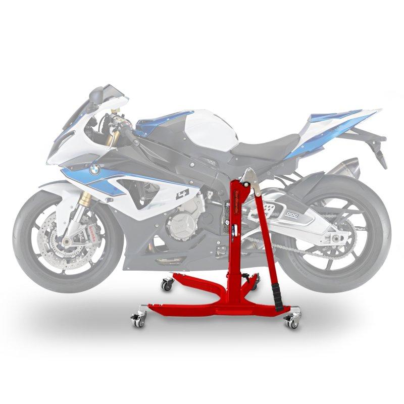 bequille d 39 atelier moto centrale constands power bmw hp4 2014 adapteur roulettes incl rouge. Black Bedroom Furniture Sets. Home Design Ideas