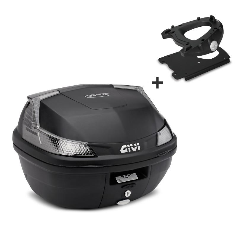 Bauletto-Top-Case-Set-Givi-Kawasaki-J300-14-16-Monolock-B37NT-nero