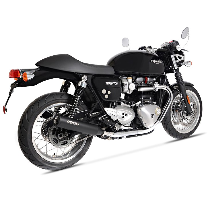 exhaust silencer miller commodore triumph thruxton r 16 17. Black Bedroom Furniture Sets. Home Design Ideas