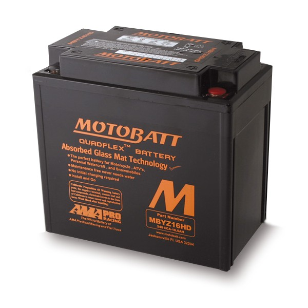 Motorcycle Battery AGM Motobatt MBYZ16HD