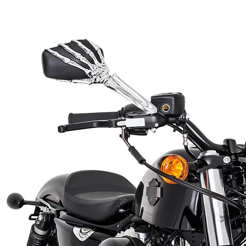 motorrad chopper spiegel skeleton hand paar schwarz. Black Bedroom Furniture Sets. Home Design Ideas