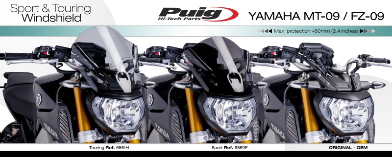 windscreen puig tour yamaha mt 09 13 14 black fly screen. Black Bedroom Furniture Sets. Home Design Ideas