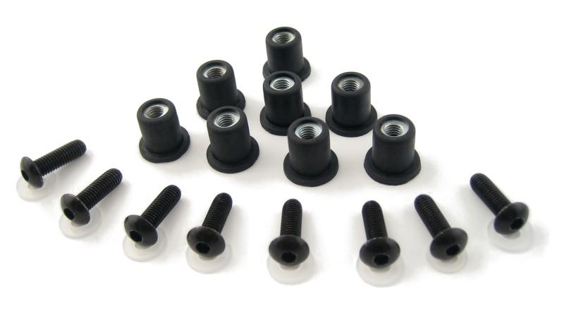 Schraubenset Verkleidungsscheiben (Gummi) Puig schwarz