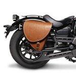 Motorrad Satteltasche für Custom Bikes Indiana braun links