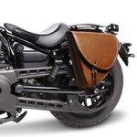 Motorrad Satteltasche für Custom Bikes Indiana braun links Pic:1