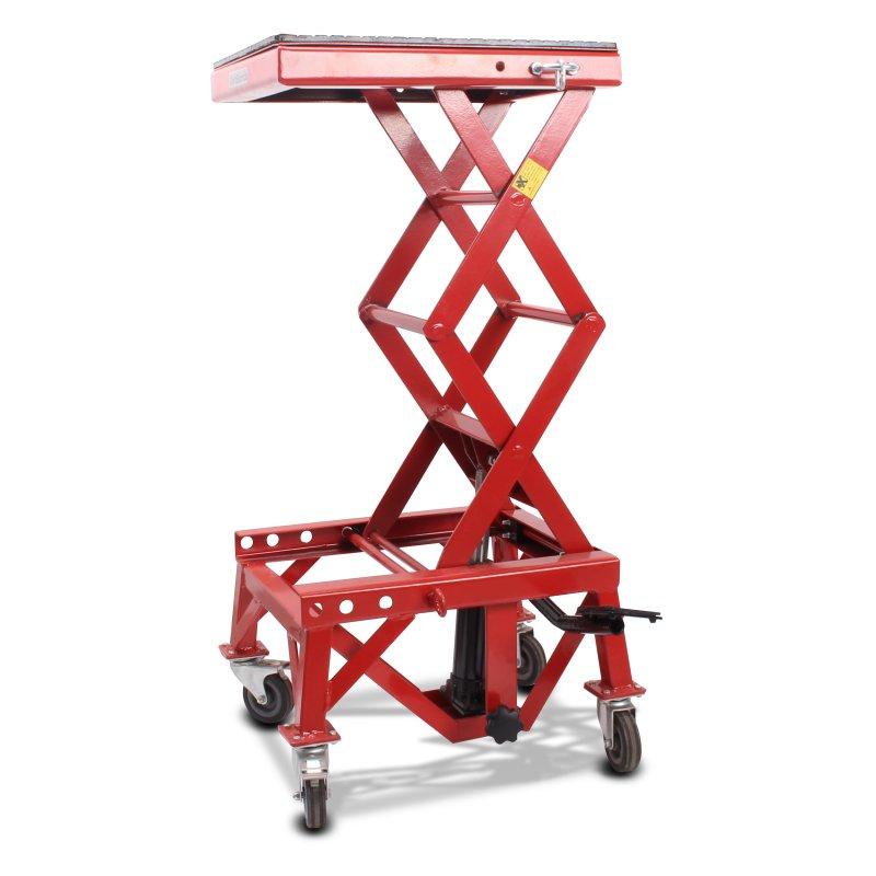 ConStands Hydraulik Hebebühne Moto Cross Lift XL + Räder rot
