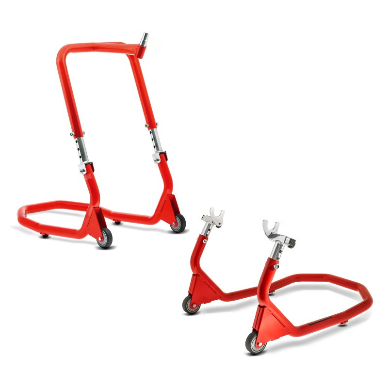 Set of Motorcycle Front Headstock Head Lift + Rear Paddock Stand BMW S 1000 XR 15-19 Constands V5 red