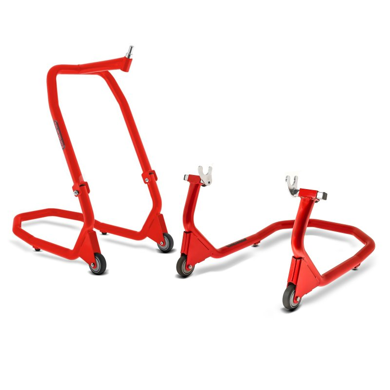 Set of Motorcycle Front Headstock Head Lift + Rear Paddock Stand for KTM 790 Duke 18-19 Constands V4 red