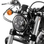 "LED Headlight Craftride 7"" for Harley Davidson black Pic:1"
