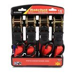 Automatic ratchet straps set with hooks for motorcycles 4x